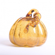 Glitzhome Amber Crackle Glass Pumpkin