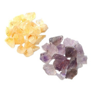 0.9kg Total of 0.5 to 3.8cm Rough Purple Amethyst and Yellow Citrine Stones from Brazil