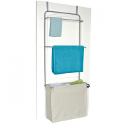 """Homz """"Over The Door"""" Towel and Garment Organiser with Khaki Laundry Bag Included, 50cm x 24cm x 140cm , Silver"""