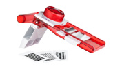 Sunkist 5-in-1 Mandoline Slicer with Self Contained Blade Storage, Transparent Red