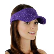 Purple_ 100% Polyester Glitter Visor Hat