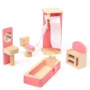 KINGSO Wooden Miniature Furniture Set Doll House Kids Toy Gift Bathroom