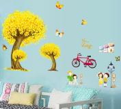 Fange DIY Removable Cartoon Tree Yellow Cycling and Butterflies Your Love Art Mural Vinyl Waterproof Wall Stickers Kids Room Decor Nursery Decal Sticker Wallpaper 90cm x 60cm