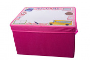 Kid's Pink School Themed Collapsible Storage Bin and Play Mat with White Board Lid