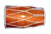 Handmade Wooden Dholak Indian Folk Musical Instrument Drum Tied Thru Rope