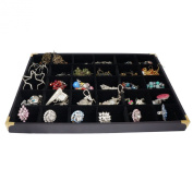 Black Jewellery 30 Compartment Display Case Tray with Golden Decorative Corner, 35x24cm, for Presentation