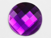 60mm Purple Amethyst H105 Flat Back Round Acrylic Gems High Quality Pro Grade Individually Wrapped - 2 Pieces