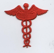 Red Medical Caduceus Iron on Embroidered Applique Patch