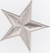 Iron on Patch Embroidered Patches Application Silver Star Big