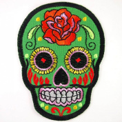 Green Rose Mexican Sugar Skull Embroidered Iron On Patches # WITH FREE GIFT#