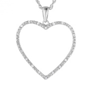 Vir Jewels Sterling Silver Diamond Heart Pendant (1/8 CT) With 46cm Chain