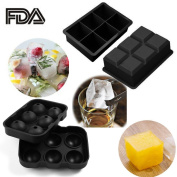 SySrion® Silicone Ice Cube Trays, Round Ice Cube Mould & Large Square Ice Cube Tray, Combo Silicone Moulds - Ice Cube Tray Mould & Ice Sphere Mould