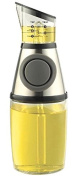 NON DRIP Oil-Vinegar Bottle/Dispenser with Rounded-Shape Pump + Measured Top for Controlled Pouring, 500ml