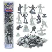Zombie Action Figures - Big Bucket of 100 Zombies - Includes Zombies, Pets, Graves, and Humans - Teal Pumpkin Halloween Friendly!