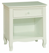 Bolton Furniture 8301500 Emma French-Inspired 1 Drawer Nightstand, White