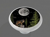 Night Wolf High Gloss Ceramic Drawer Knob