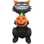 1.7m Standing Cat Holding Pumpkin Airblown Halloween Inflatable