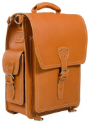 HIDEONLINE REAL LEATHER LARGE LAPTOP BACKPACK / MESSENGER BAG in VEGETABLE TANNED LEATHER