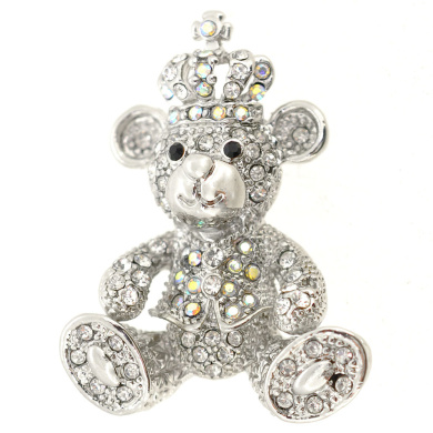 Bear With Crown Pin Brooch