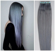 """Becret®18""""20""""22"""" 24"""" Tape - In Real Human Hair Extensions Silky Straight Seamless Skin Hair Weft 18 Colours 50grams/ 20pcs/set Beauty Hair Style Silver grey & grey"""