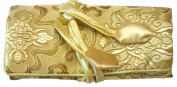 Gold Silk Abstract Floral Print Make Up Bag/ Wrap /Jewellery Roll