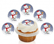 12 Large Pre Cut Merry Christmas Snowman with Broom Edible Premium Disc Wafer Cupcake Decorations Toppers