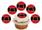 12 Large Pre Cut Merry Christmas With Love Santa belt Edible Premium Disc Wafer Cupcake Decorations Toppers