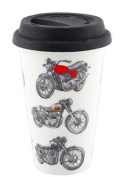Mens Classic Motor Bikes Design Travel Mug with Silicone Lid
