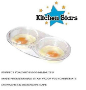 Microwave Oven Stain Proof Egg Poacher Cooker Twin 2 Poach Cups for Eggs with Lid by Kitchen Stars