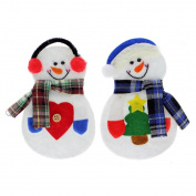 VANKER 2Pcs Christmas Snowman Flatware Tableware Fork Spoon Holder Bag Pocket