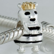 Queen Bee Charm Bead - Gold Plated - .925 Sterling Silver NEW - Fits Pandora European Style Bracelets
