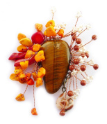 Brooch bronze with Tigers Eye, Coral, Goldstone of-Pearl/Real Cultured Freshwater White etc.