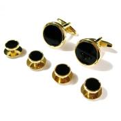 Tailor B Gold Onyx Cufflinks and Dress Studs Sets Tuxedo Cuff Links & Stud Set Screw Back 053151 G-Onyx