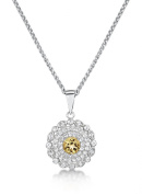 Just Jo Citrine and White Topaz Circle Pendant in Sterling Silver with Rhodium Plating of 41-46cm