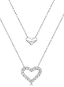 Just Jo Cubic Zirconia Double Hearts Necklace with 2 Chains in Sterling Silver with Rhodium Plating of 41-46cm