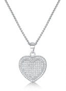 Just Jo Microset Cubic Zirconia Heart Pendant in Sterling Silver with Rhodium Plating of 41-46cm