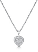 Just Jo Microset Cubic Zirconia Heart Pendant with Rhodium Plating in Sterling Silver of 41-46cm