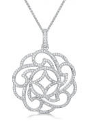 Just Jo Cubic Zirconia 'Downton Abbey' Style Stately Pendant in Sterling Silver with Rhodium Plating of 41-46cm
