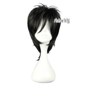 Fashion Black Layered Style Togainu no Chi Shiki Men Boy Anime Cosplay Hair Wig