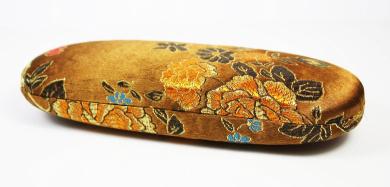Bronze Floral Silk Embroidery, Decorative Glasses Case