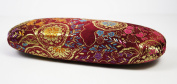 Burgundy Floral Silk Embroidery, Decorative Glasses Case