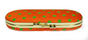 Lime Spotted Fabric Glasses Case and Internal Mirror (Orange) Metal Clasp Fastener, Internal Mirror