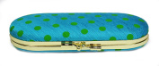 Lime Spotted Fabric Glasses Case and Internal Mirror (Blue) Metal Clasp Fastener, Internal Mirror