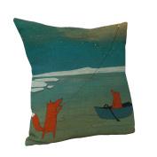 Amybria Cotton Linen Square Home Decor Cushion Cover Cartoon Fox Pillow Case Pattern C