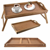 Folding Bamboo Wooden Breakfast Serving lap Tray Over Bed Table With Legs New