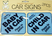 2 Pack Beautiful Beginnings Car Sign Kids Safety Child Baby Blue