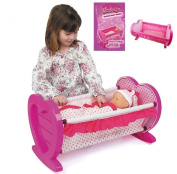 Dolls Rocking Baby Cradle Girls Toy Kids Playset Gift Crib Cot Bed With Bedding
