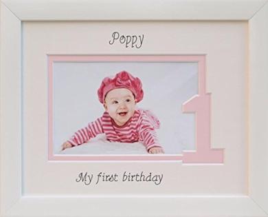 Baby Girl / Boy My First Birthday Photo Frame, 9 x 7 White, Landscape (Pink inner border - One)