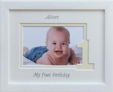 Baby Girl / Boy My First Birthday Photo Frame, 9 x 7 White, Landscape (Cream inner border - One)
