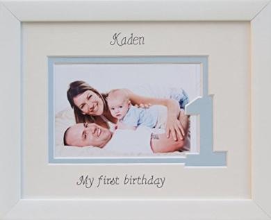 Baby Girl / Boy My First Birthday Photo Frame, 9 x 7 White, Landscape (Blue inner border - One)